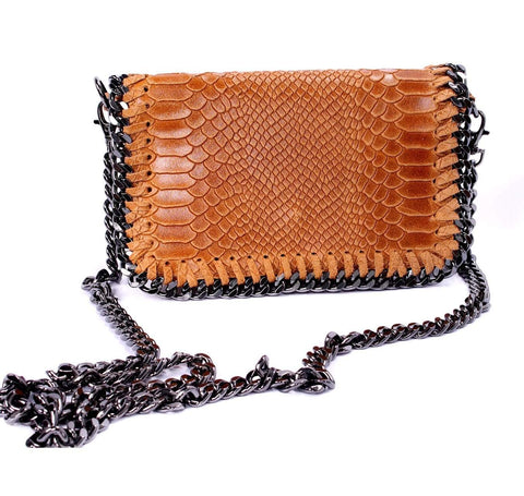 shop-sofia Hazel Cognac Snake Embossed Chain Shoulder Bag Sofia Collections Italian Silk Linen Satin