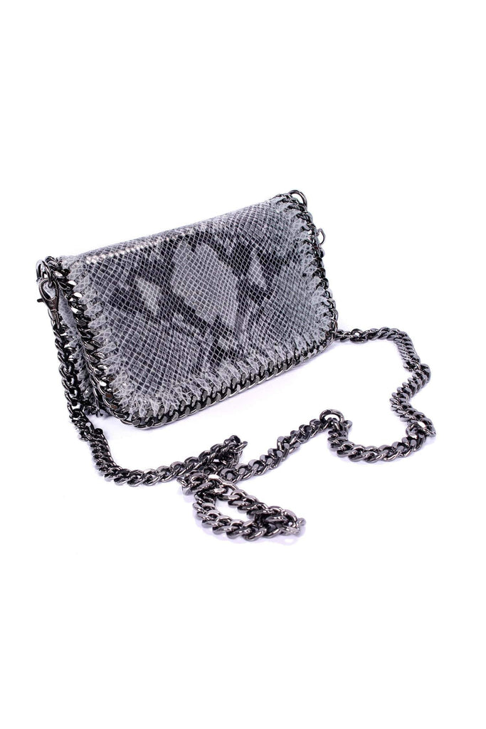 shop-sofia Hazel  Grey Snake Print Chain Shoulder Bag Sofia Collections Italian Silk Linen Satin