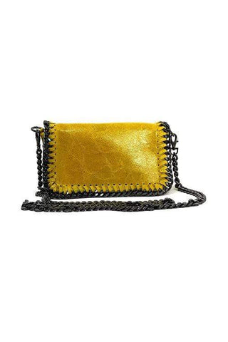 shop-sofia Hazel Yellow Chain Shoulder Bag Sofia Collections Italian Silk Linen Satin