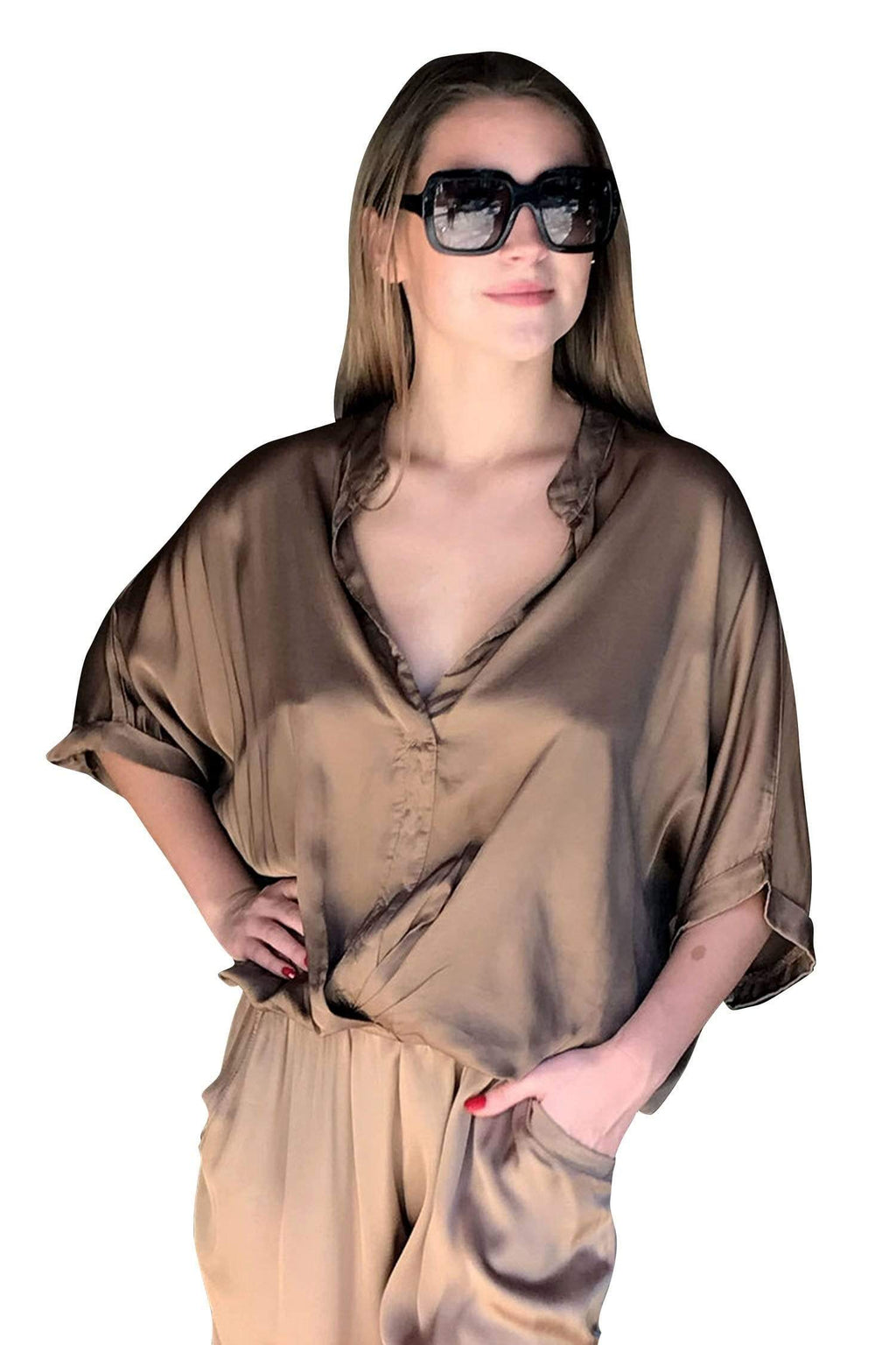 shop-sofia Jane Camel Loose Top Sofia Collections Italian Silk Linen Satin