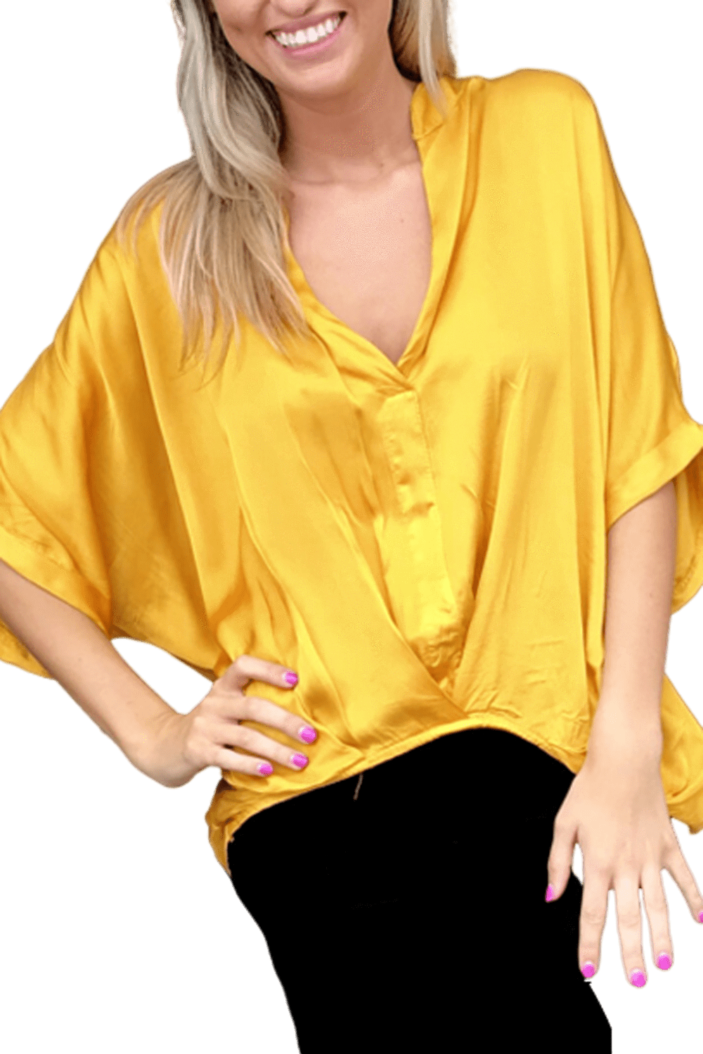 shop-sofia Jane Mustard Loose Top Sofia Collections Italian Silk Linen Satin