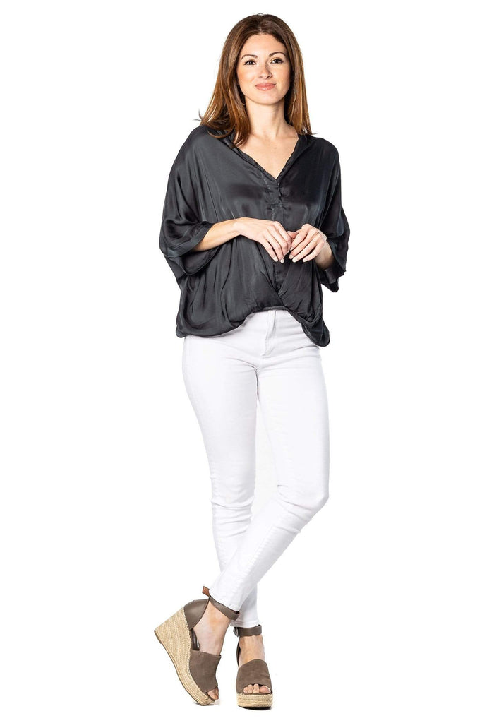 shop-sofia Tops Jane  Top Sofia Collections Italian Silk Linen Satin