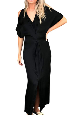 shop-sofia Jessica Black Maxi Dress with Front Slit Sofia Collections Italian Silk Linen Satin