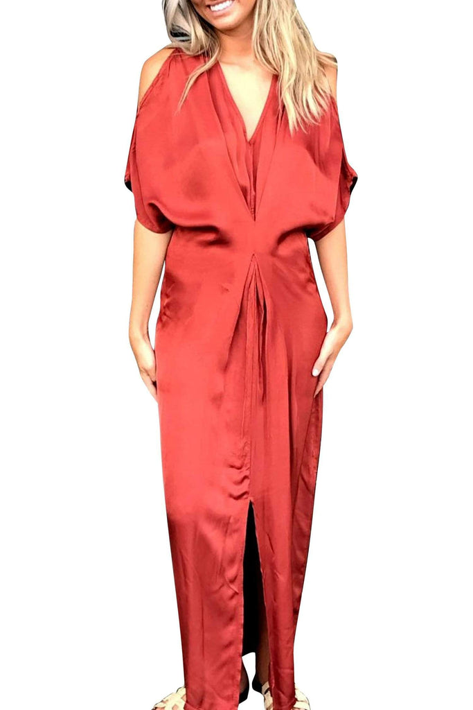 shop-sofia Jessica Brick Maxi Dress with Front Slit Sofia Collections Italian Silk Linen Satin