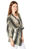 Sofia Collections Joyce Military Snake Print Top Sofia Collections Italian Silk Linen Satin
