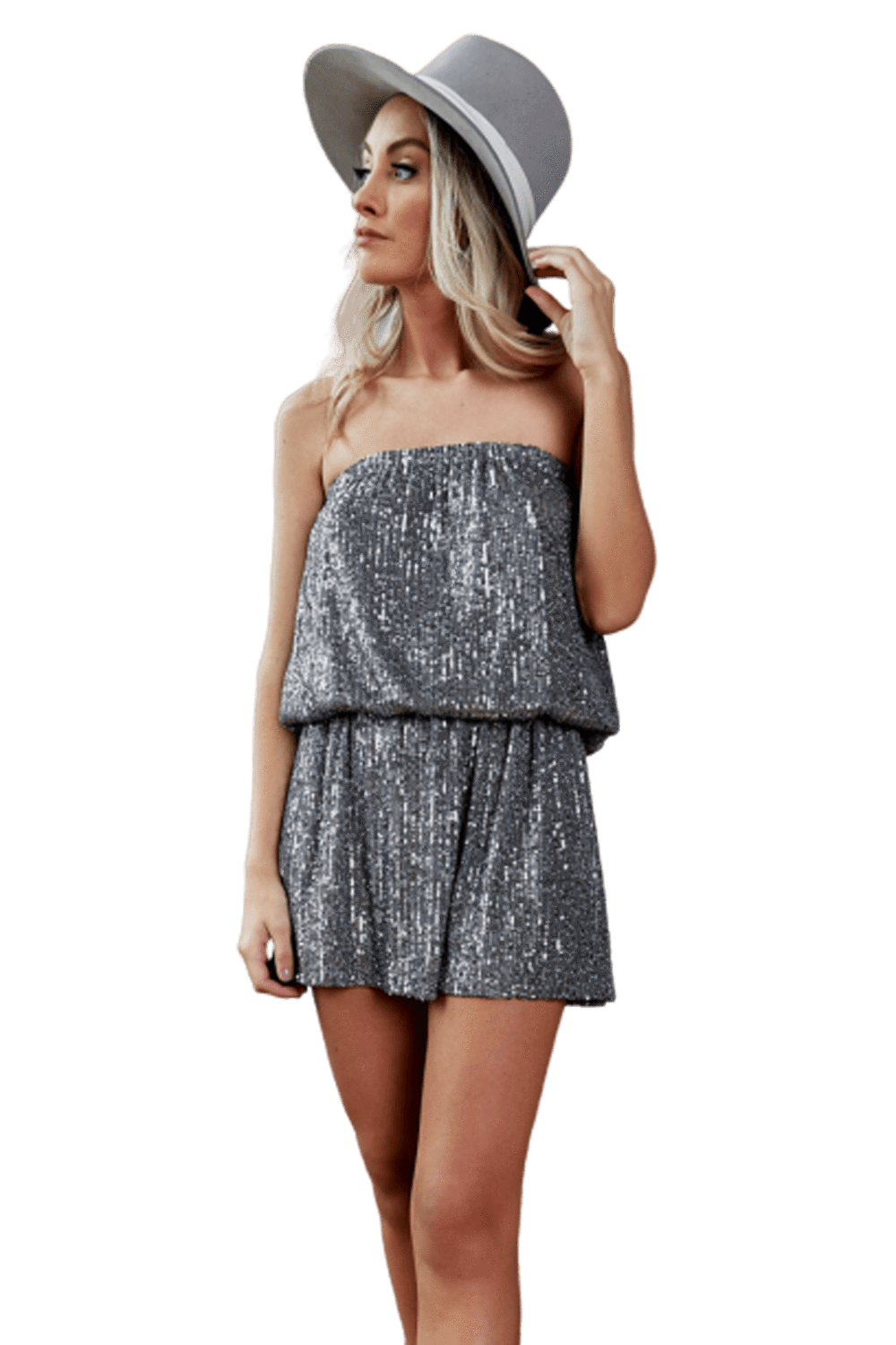 shop-sofia KATIA STRAPLESS MINI Sofia Collections Italian Silk Linen Satin