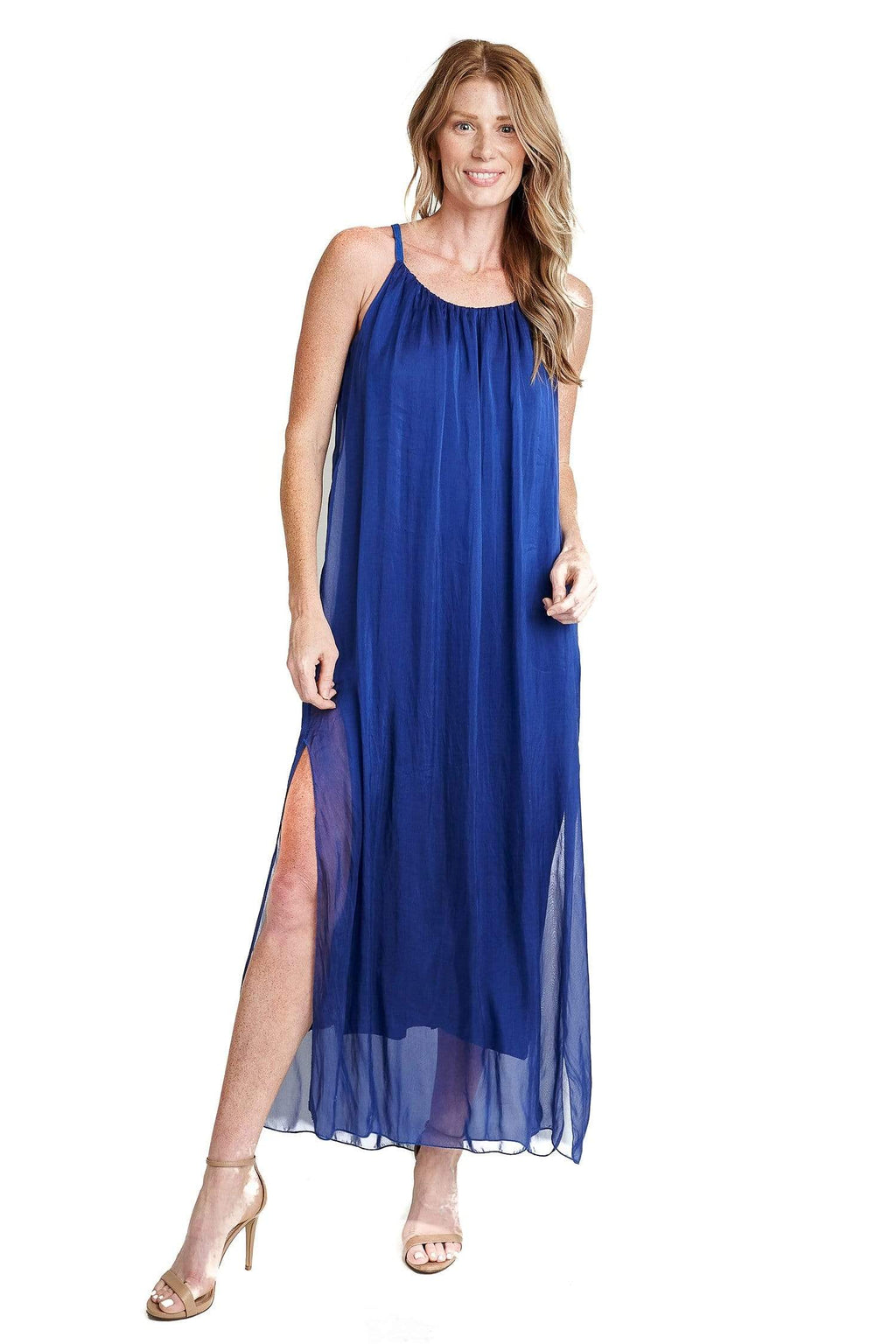 shop-sofia Katie  Open Side Slits Maxi Sofia Collections Italian Silk Linen Satin