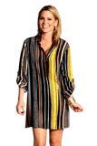 shop-sofia Katie Stripe Boyfriend Tunic Sofia Collections Italian Silk Linen Satin