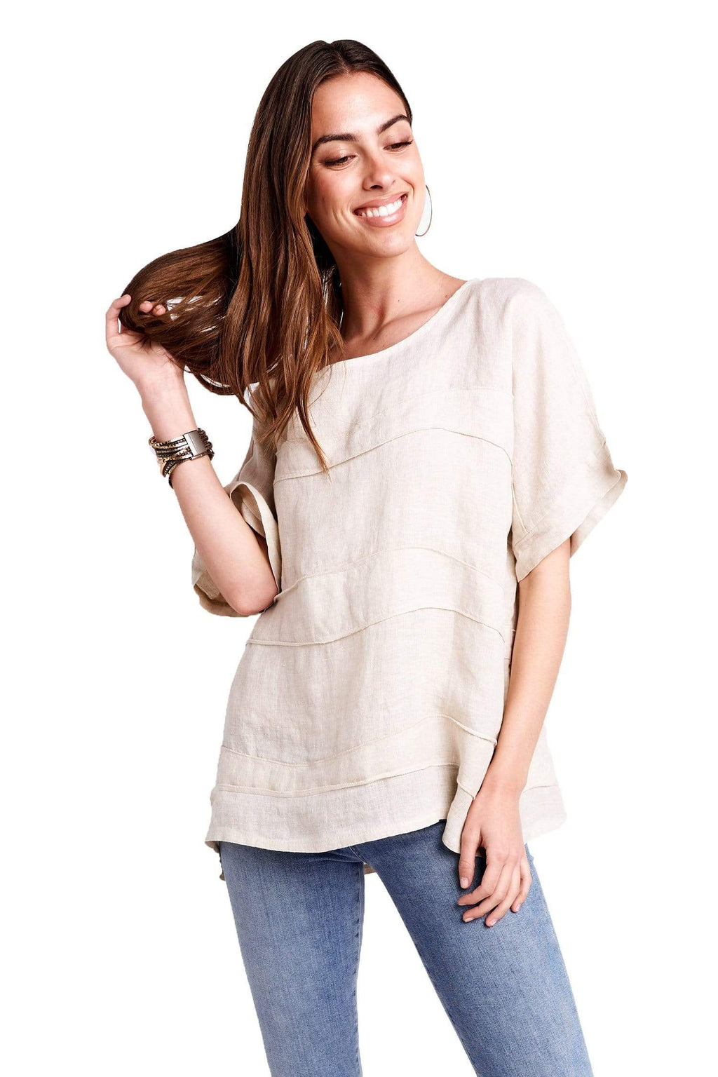 shop-sofia Kay Linen Top Sofia Collections Italian Silk Linen Satin
