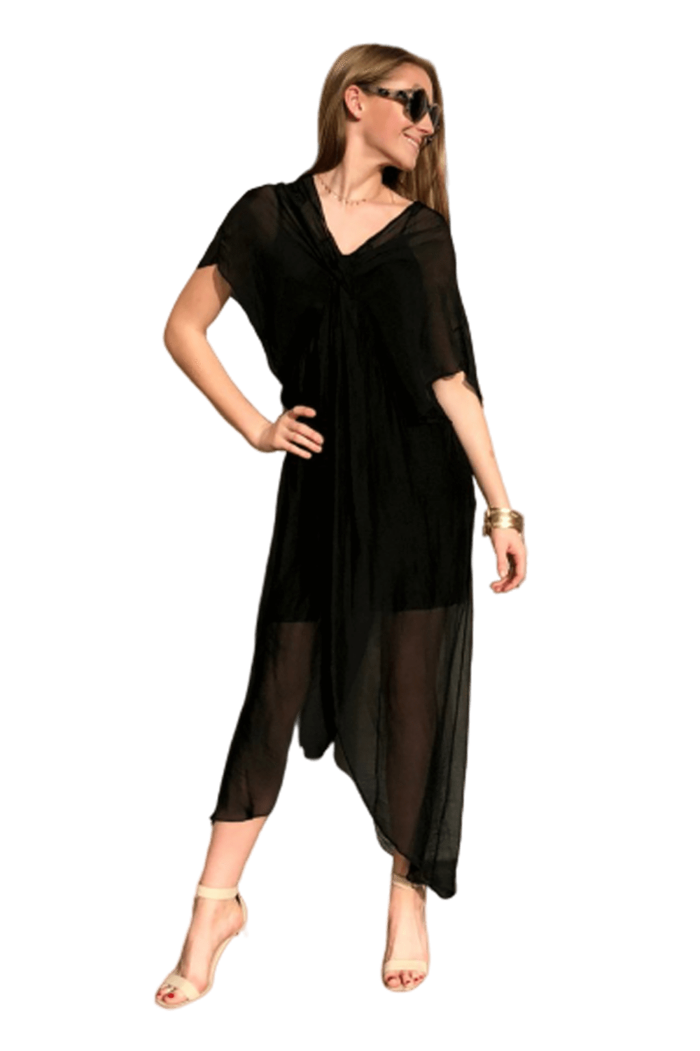 shop-sofia Kendra Black Tunic Dress Sofia Collections Italian Silk Linen Satin