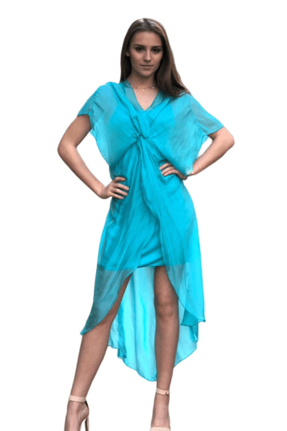 shop-sofia Kendra Turquoise Dress Sofia Collections Italian Silk Linen Satin