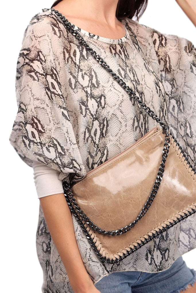 shop-sofia Kenzi  Chain Shoulder Bag Sofia Collections Italian Silk Linen Satin