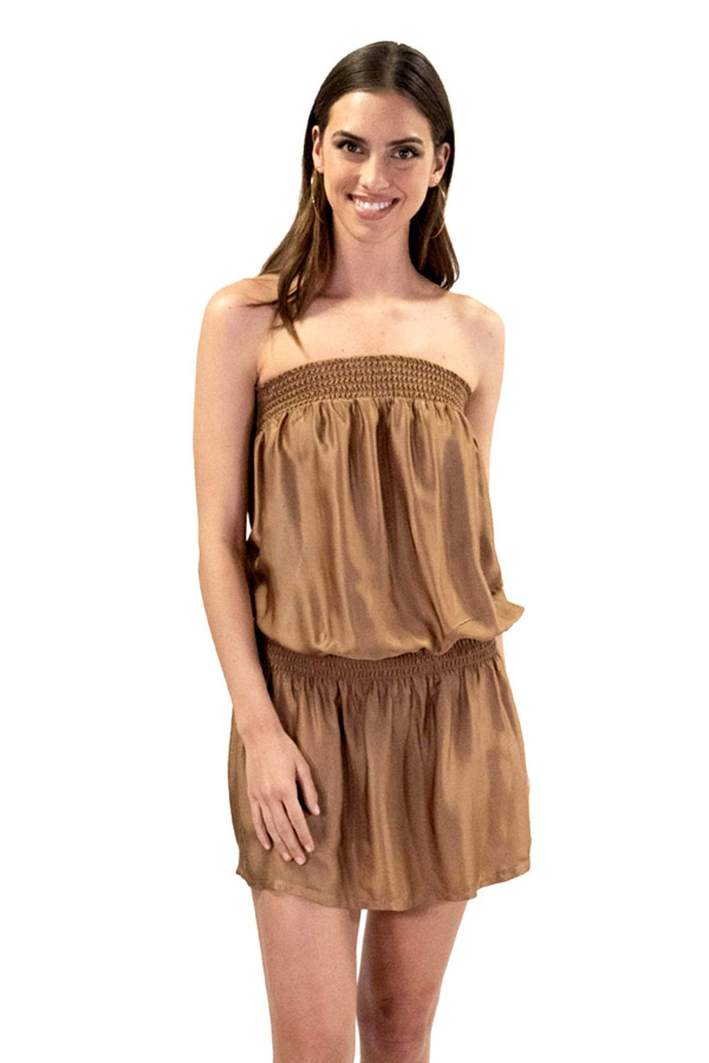 shop-sofia KIM BRONZE TUBE DRESS Sofia Collections Italian Silk Linen Satin