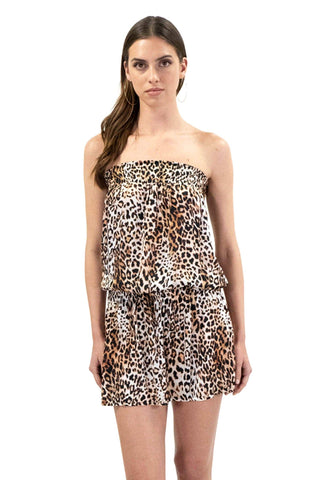 shop-sofia Kim Cheetah Tube Dress Sofia Collections Italian Silk Linen Satin