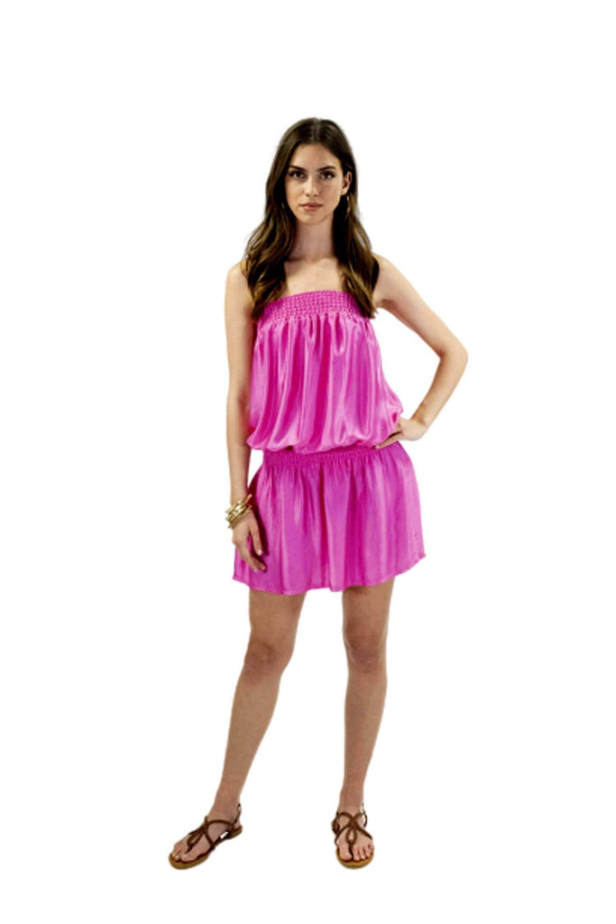 shop-sofia Kim Magenta Tube Dress Sofia Collections Italian Silk Linen Satin