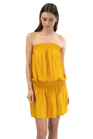 shop-sofia KIM MUSTARD TUBE DRESS Sofia Collections Italian Silk Linen Satin