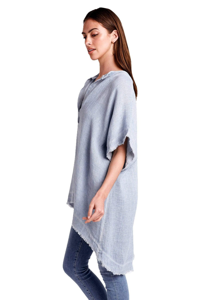 shop-sofia Kirsten Linen Long Top Sofia Collections Italian Silk Linen Satin