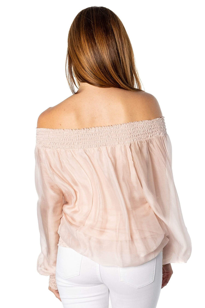 shop-sofia Krystal Top Sofia Collections Italian Silk Linen Satin