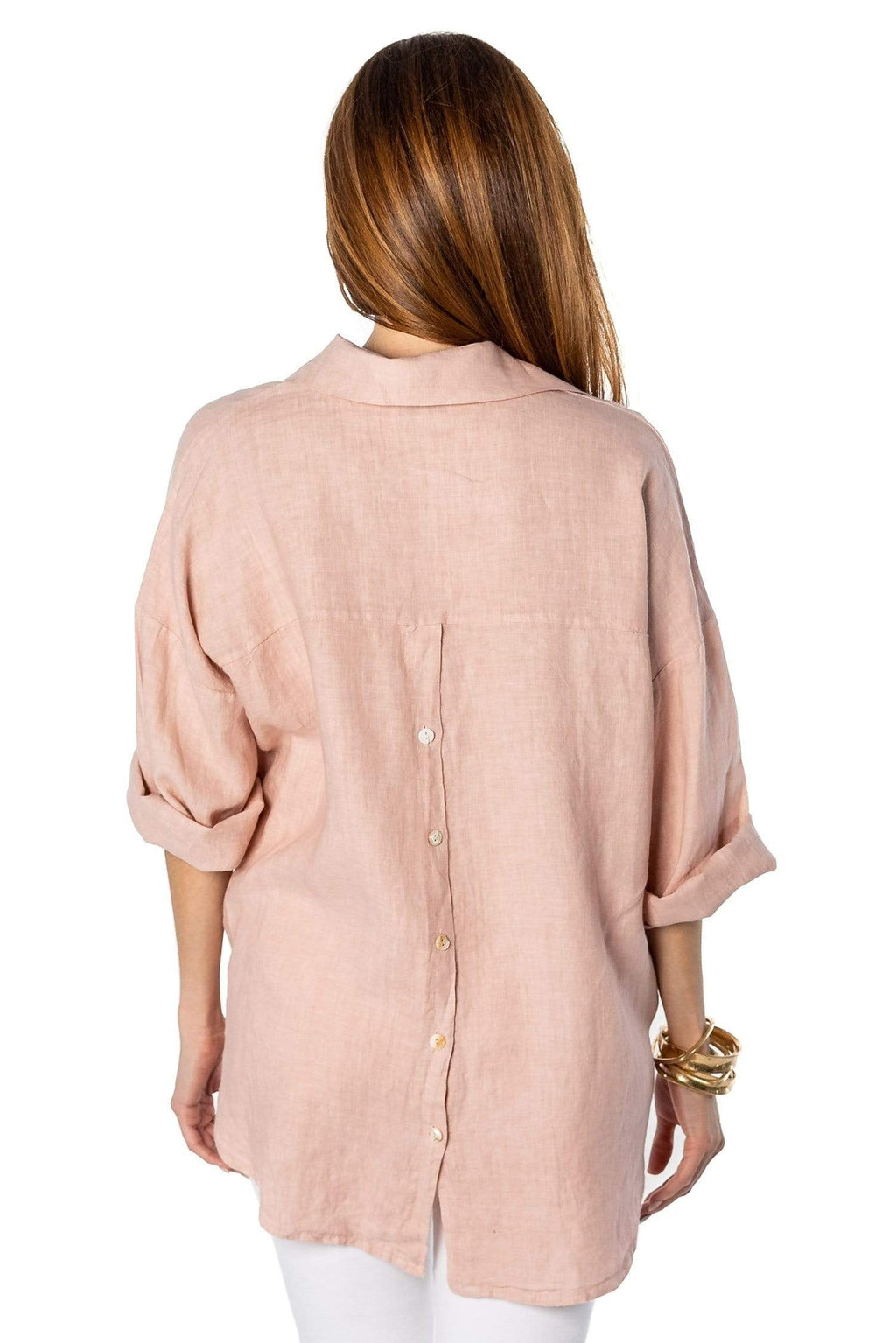 shop-sofia Laiza  Boyfriend Shirt Sofia Collections Italian Silk Linen Satin