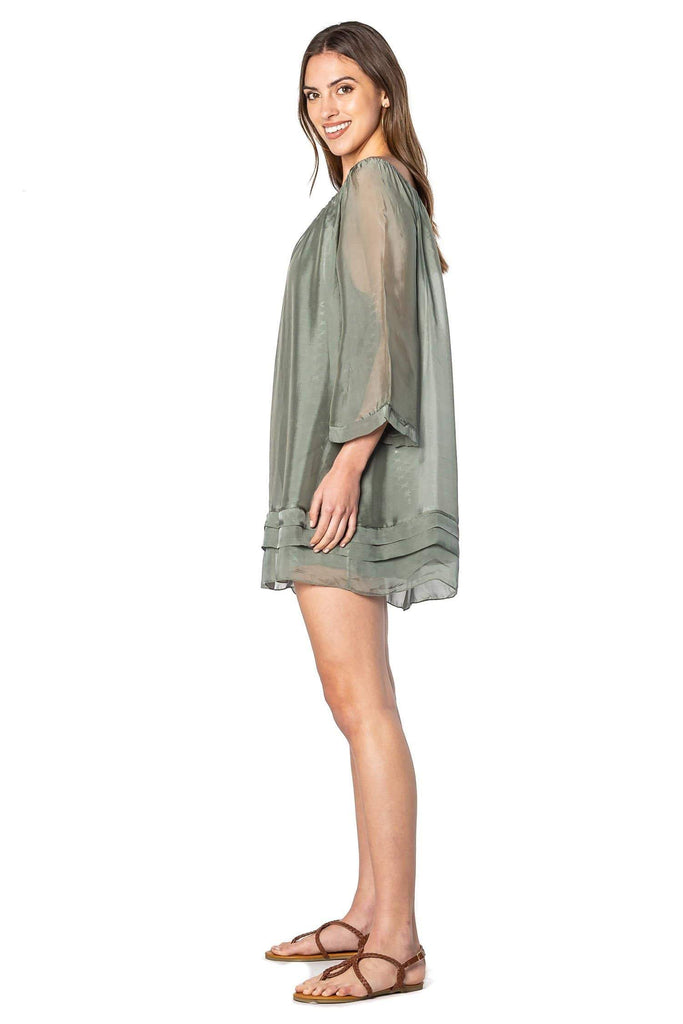 shop-sofia Lea Ruffle Dress Sofia Collections Italian Silk Linen Satin