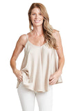 shop-sofia Leila Tank Top Sofia Collections Italian Silk Linen Satin