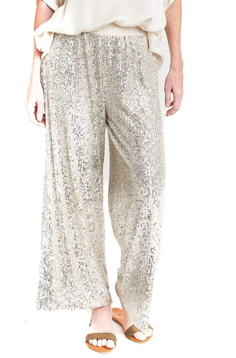 shop-sofia Leizel Wide Leg Sequence Pant Sofia Collections Italian Silk Linen Satin