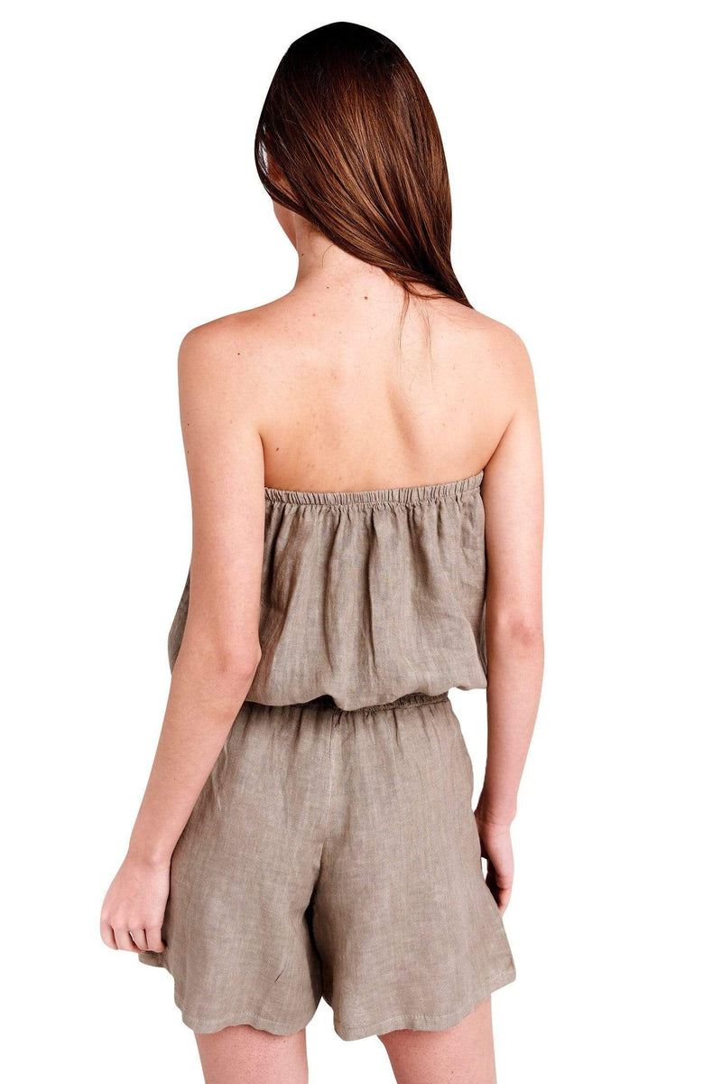 shop-sofia Lenny Romper Sofia Collections Italian Silk Linen Satin