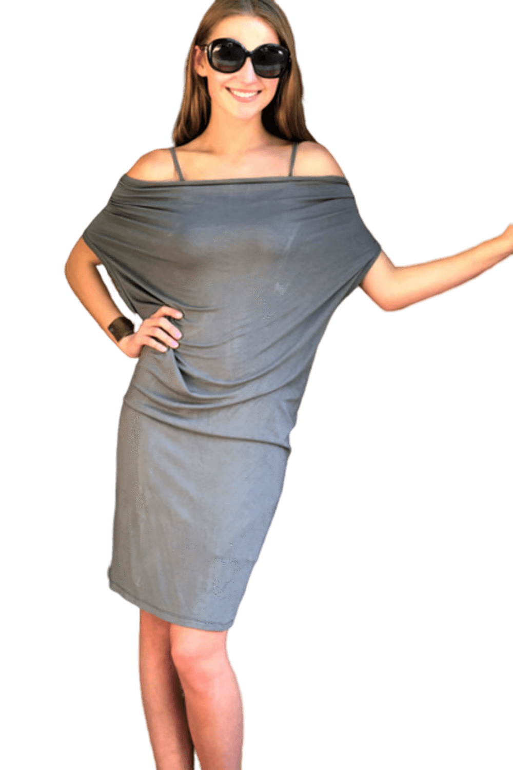 shop-sofia Lewis Charcoal On/Off Shoulder Dress Sofia Collections Italian Silk Linen Satin