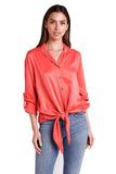 shop-sofia Lina Button Down Shirt Sofia Collections Italian Silk Linen Satin