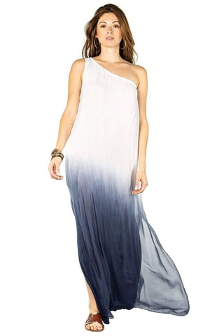 shop-sofia Lisa One Shoulder Maxi Dress Sofia Collections Italian Silk Linen Satin