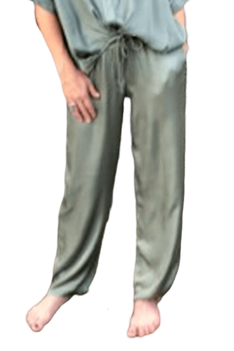 shop-sofia Liza Military Pants Sofia Collections Italian Silk Linen Satin