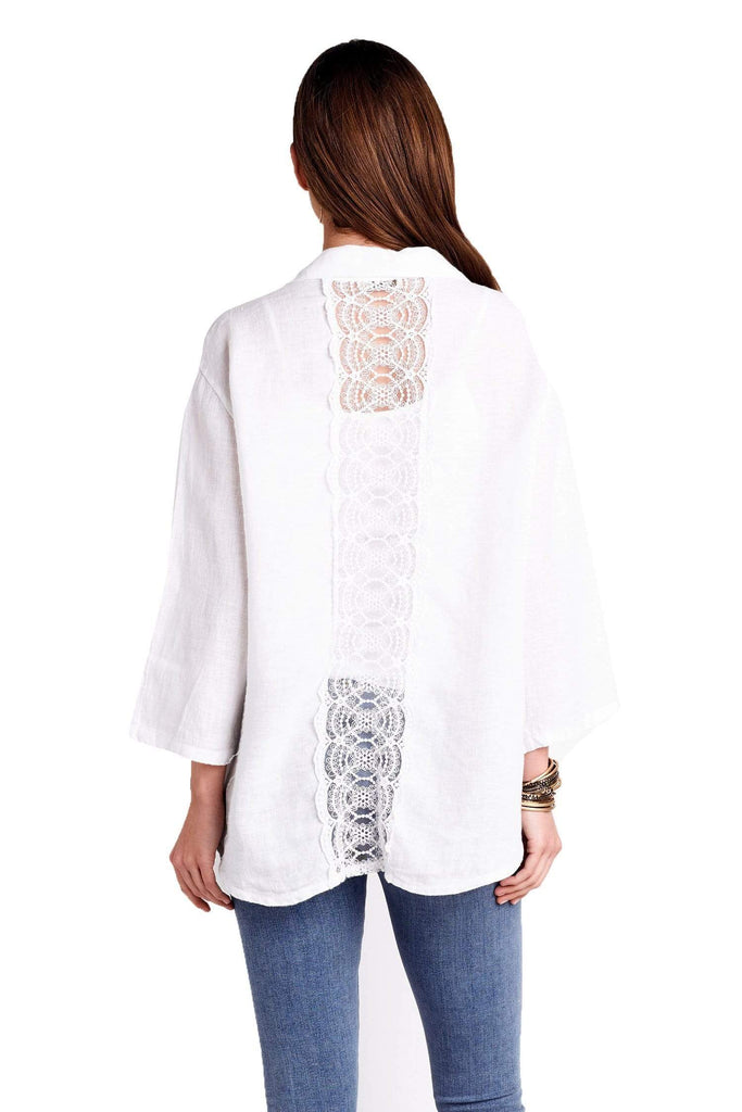 shop-sofia Longsleeve Button Down Lace Back Top Sofia Collections Italian Silk Linen Satin