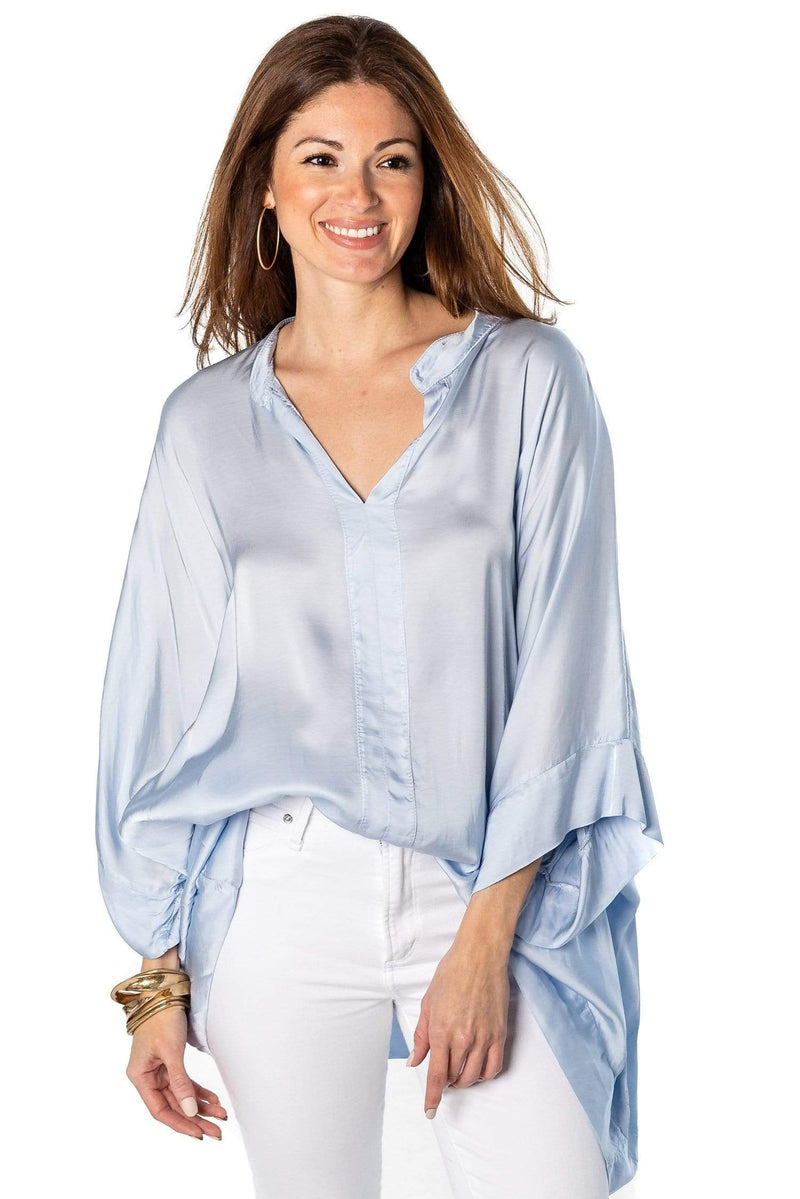 shop-sofia Luciana Blouse Sofia Collections Italian Silk Linen Satin