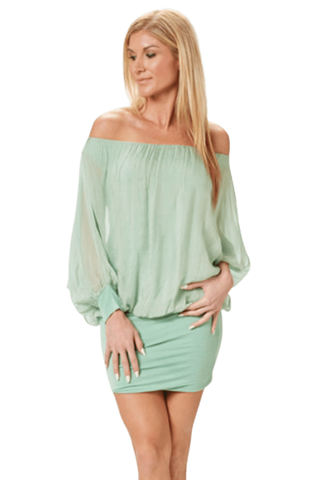 shop-sofia Mady Mint Off Shoulder Dress Sofia Collections Italian Silk Linen Satin