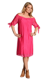 shop-sofia Magenta Dress Sofia Collections Italian Silk Linen Satin