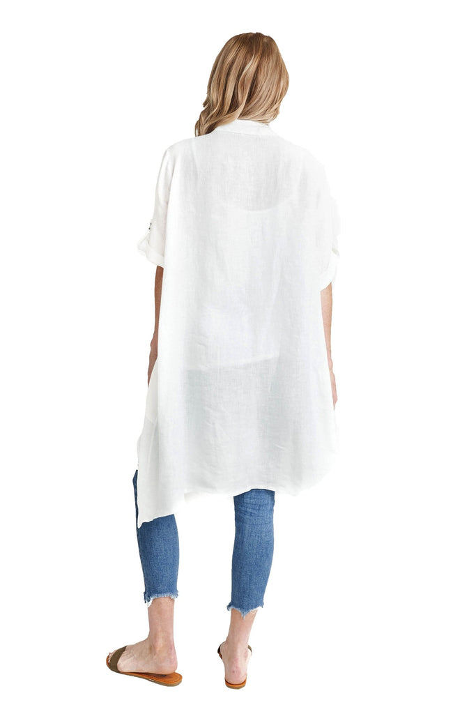 shop-sofia Maive Tunic Sofia Collections Italian Silk Linen Satin