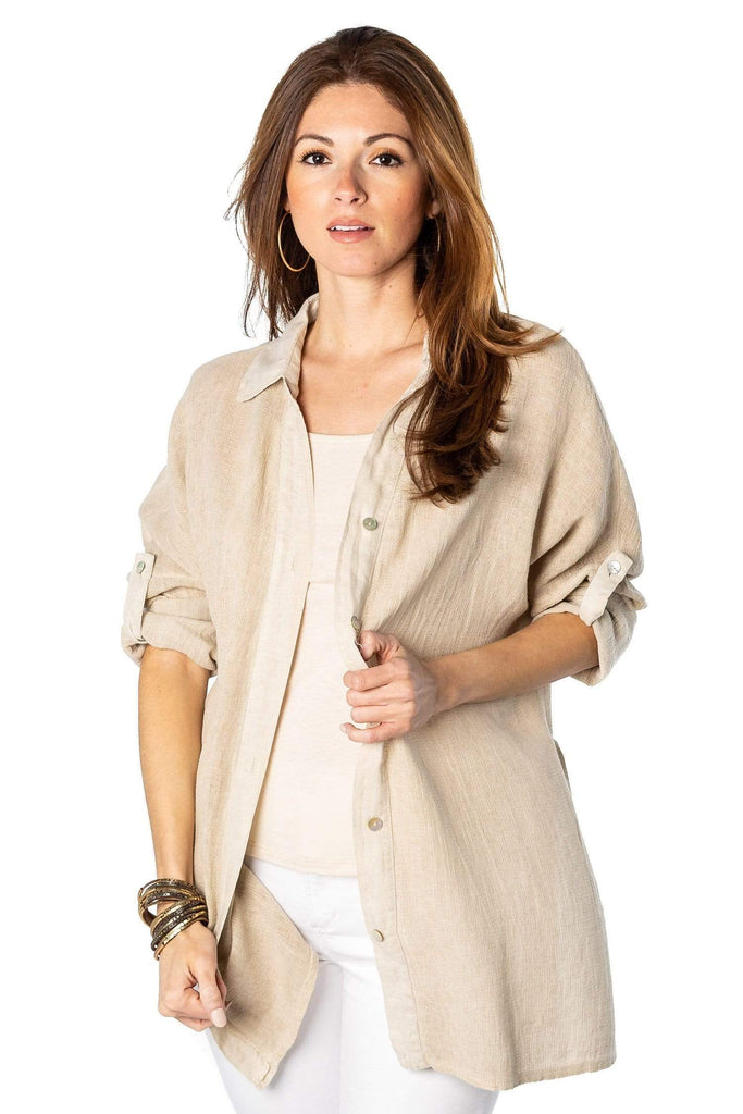 shop-sofia Mallie Breeze Button Down Sofia Collections Italian Silk Linen Satin