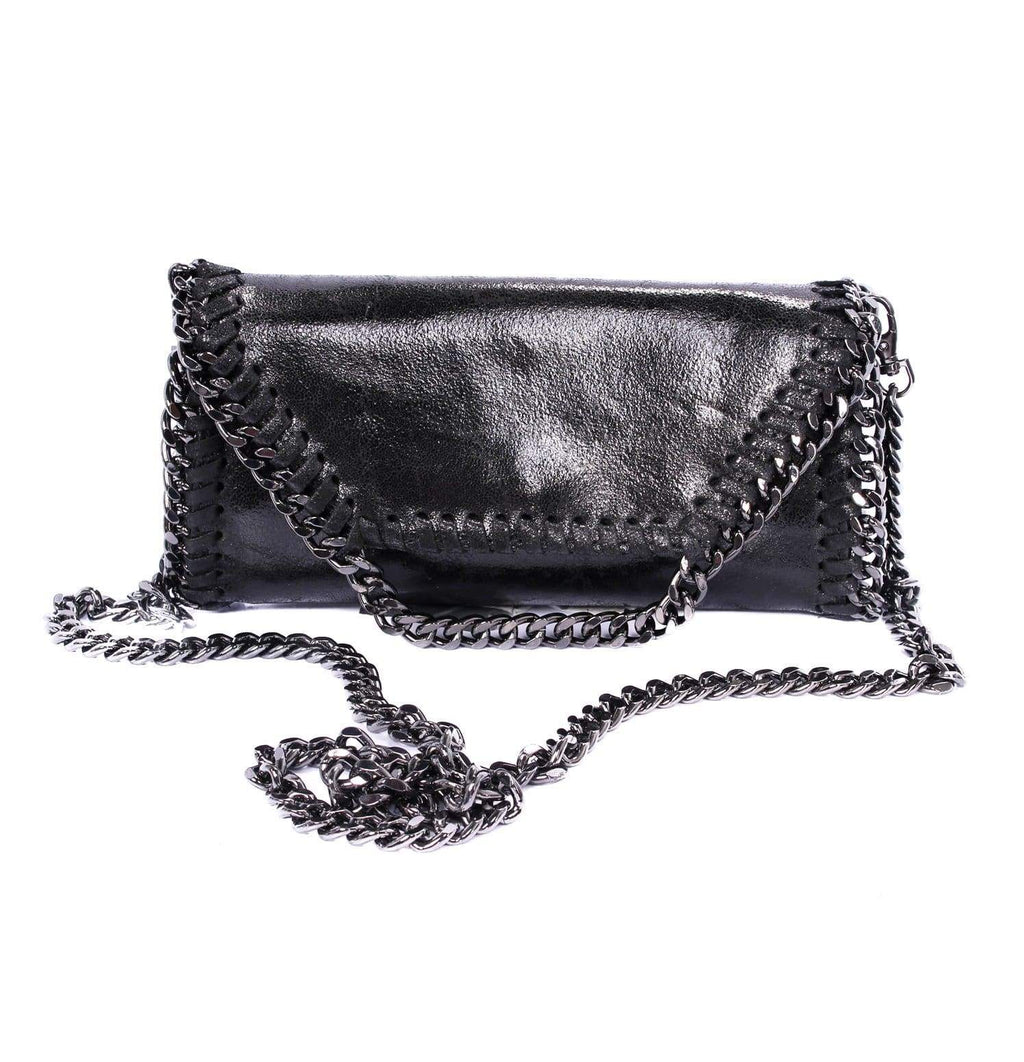 shop-sofia Mandy Black Chain Shoulder Bag Sofia Collections Italian Silk Linen Satin