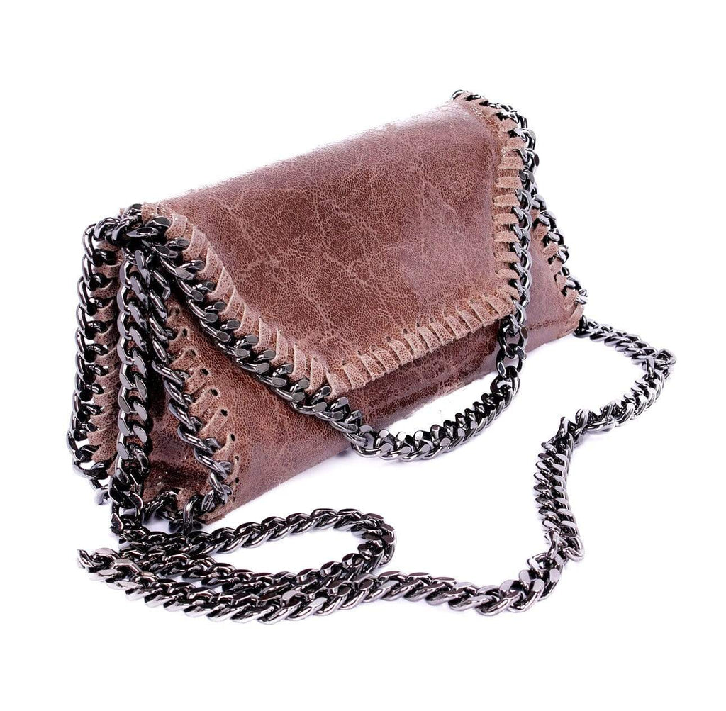 shop-sofia Mandy Cognac Chain Shoulder Bag Sofia Collections Italian Silk Linen Satin