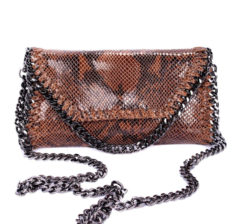 shop-sofia Mandy Snake Cognac Chain Shoulder Bag Sofia Collections Italian Silk Linen Satin