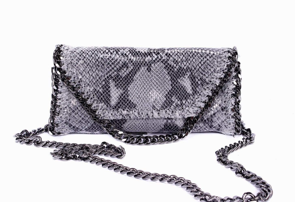 shop-sofia Mandy Snake Grey Chain Shoulder Bag Sofia Collections Italian Silk Linen Satin