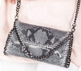 MANDY SNAKE GREY CHAIN SHOULDER BAG