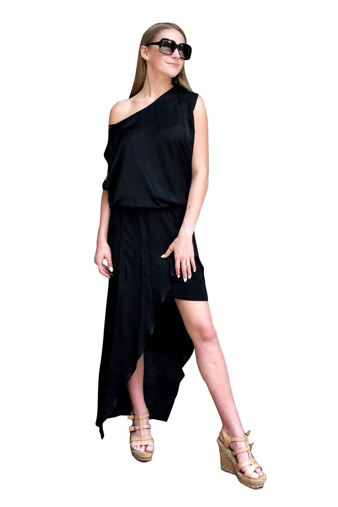 shop-sofia Marcia Black Maxi Dress Sofia Collections Italian Silk Linen Satin