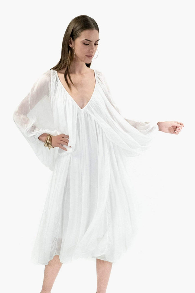 shop-sofia MARCIA DRESS Sofia Collections Italian Silk Linen Satin