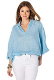 shop-sofia Maria Boho Top Sofia Collections Italian Silk Linen Satin