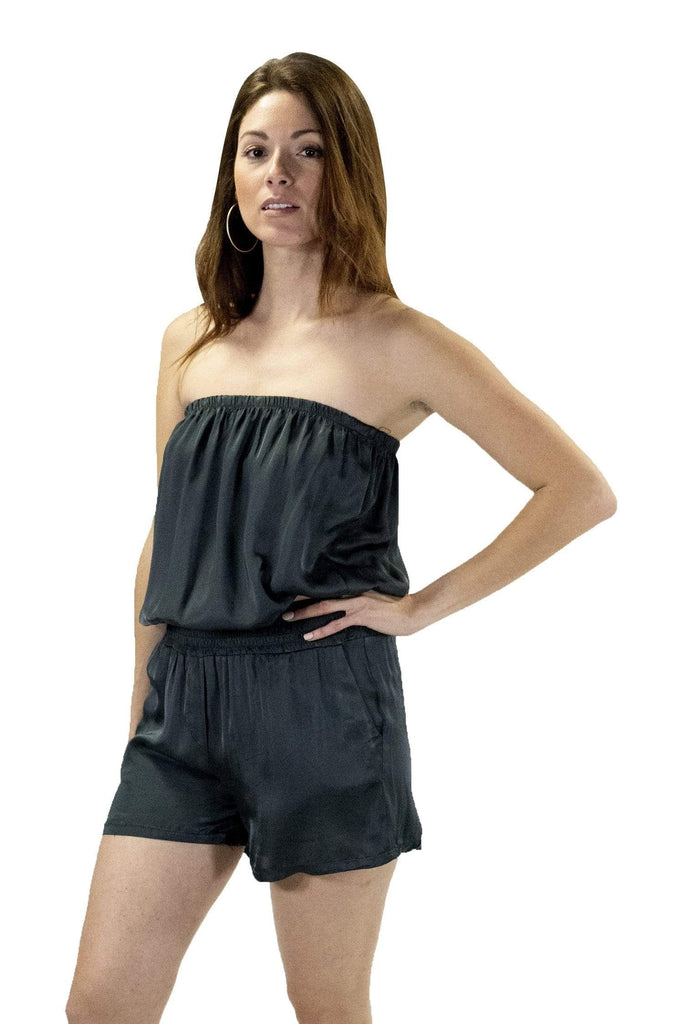 shop-sofia Mary Charcoal Tube Romper Sofia Collections Italian Silk Linen Satin