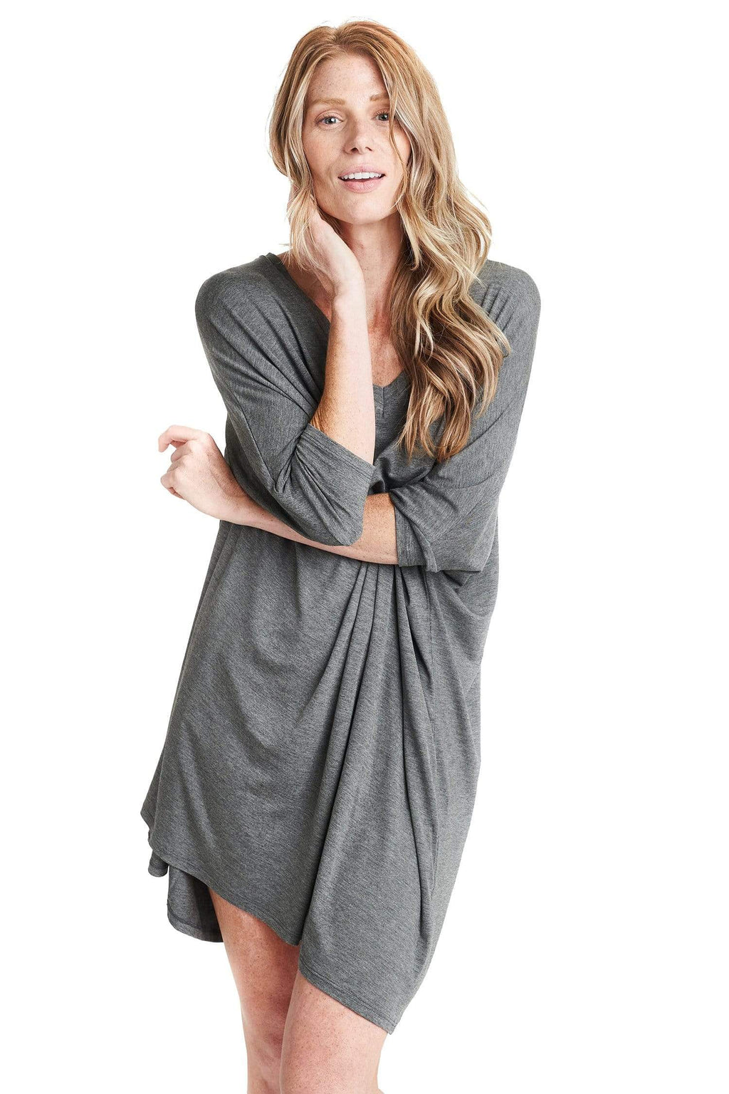 shop-sofia Maxine Charcoal Dress Sofia Collections Italian Silk Linen Satin