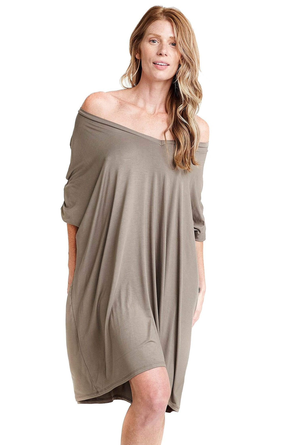 shop-sofia Maxine Taupe Dress Sofia Collections Italian Silk Linen Satin