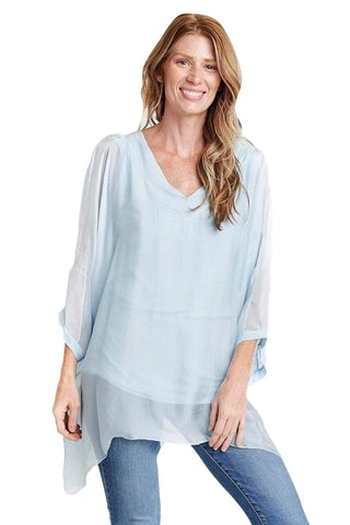 shop-sofia Silk Tops MAYA BLOUSE Sofia Collections Italian Silk Linen Satin