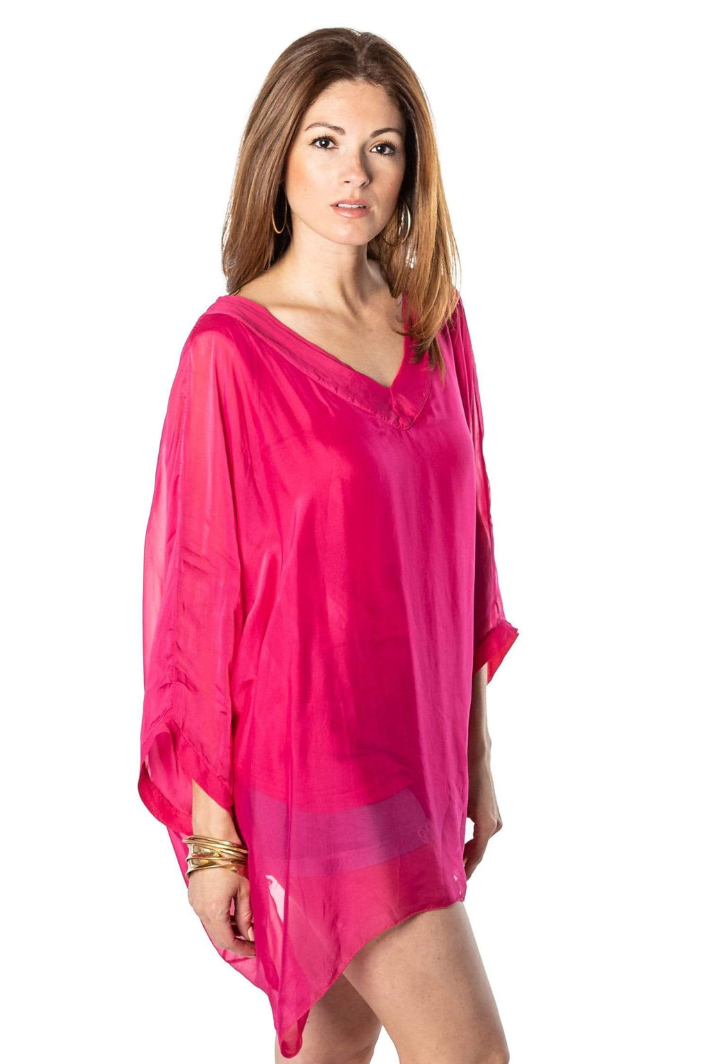 shop-sofia Maya Blouse Sofia Collections Italian Silk Linen Satin